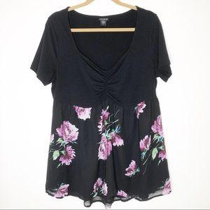 Torrid short sleeve floral blouse. 1X
